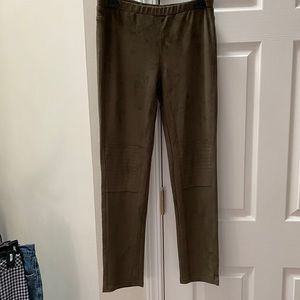 Olive Green Faux Suede High Rise Moto Leggings